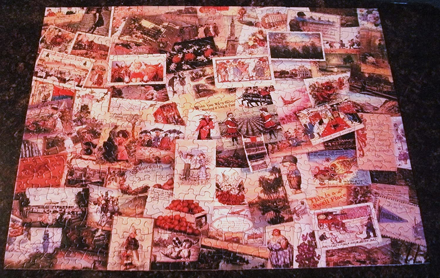 HALLMARK CARDS 500 PIECE PUZZLE 18 IN VINTAGE SPRINGBOK WISH YOU WERE HERE // HOW I SPENT MY SUMMER VACATION. VINTAGE POST CARD COLLECTION PICTURE . BY 23.5 IN TITLED