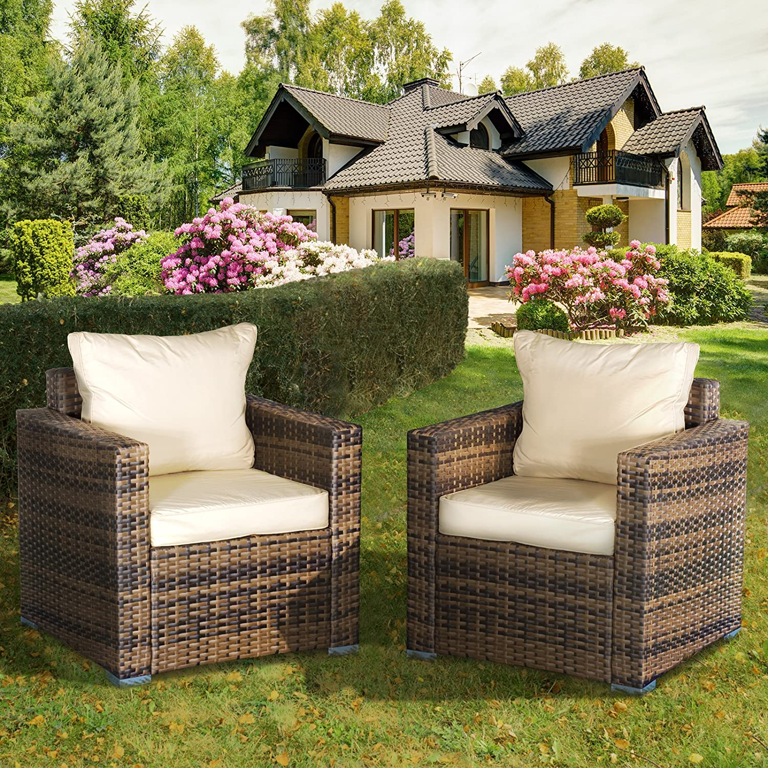 Set Of 2 Oseasons Rattan Armchair Modular Chair Garden Living Room Furniture