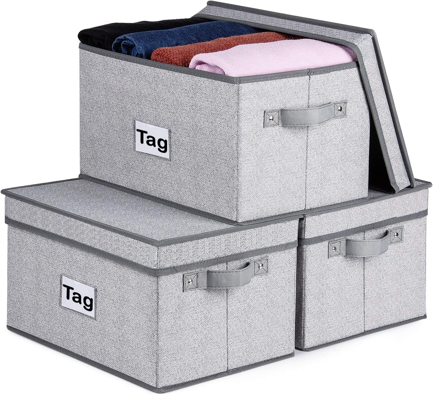 Kntiwiwo Large Storage Bins for Closet Shelves withLids 3 Pack Fabric Storage Box for Organizing Foldable StorageBaskets for Shelf with Label for Home|Office , Grey