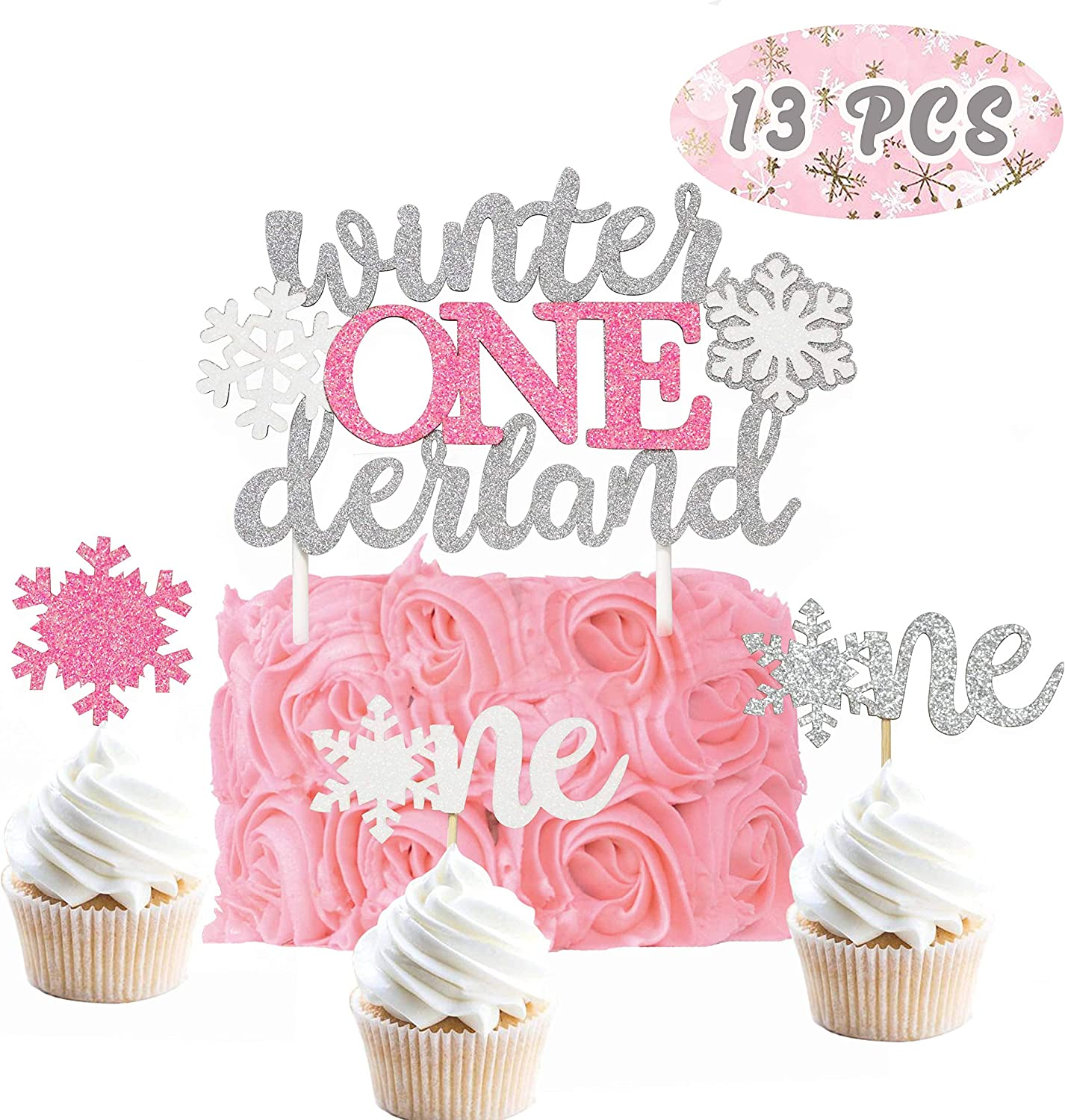 Remarkable Amazon Com Glitter Winter Onederland Birthday Cake Topper Set Of Personalised Birthday Cards Paralily Jamesorg