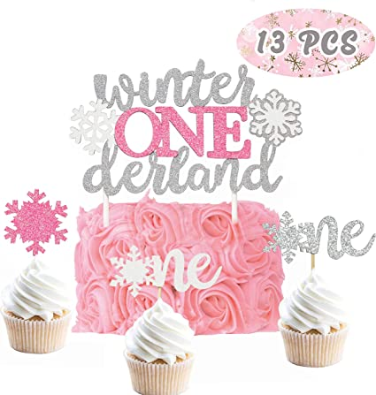 Incredible Amazon Com Glitter Winter Onederland Birthday Cake Topper Set Of Funny Birthday Cards Online Fluifree Goldxyz