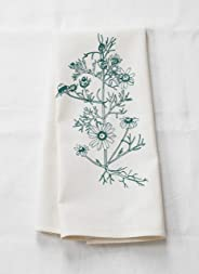 Tea Towel - Chamomile Botanical Print in Dark Green - Organic Cotton