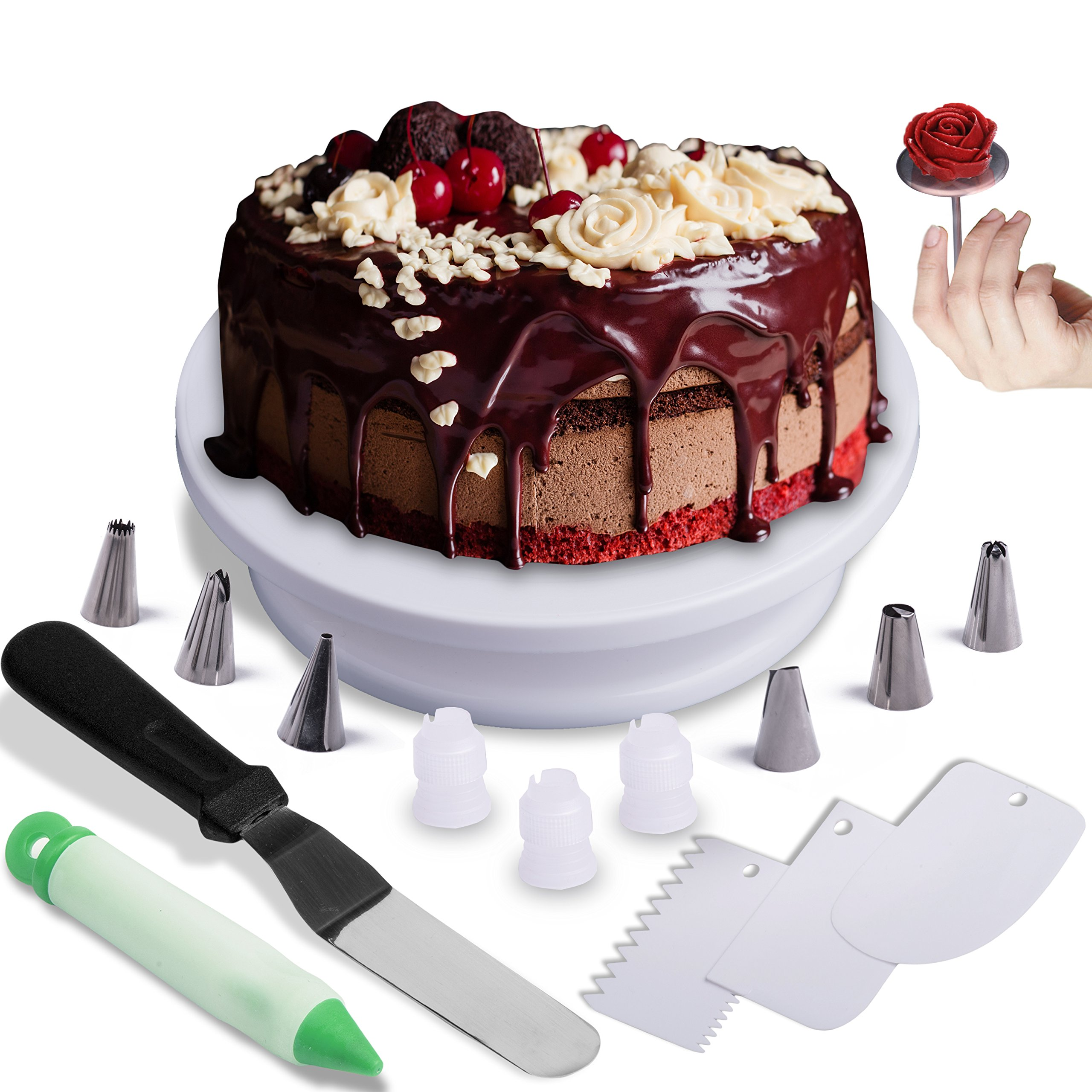 Cake Turntable Decorating Rotating Spinning Stand Plate. Perfect New Set. All You Need For Your Amazing Icing Cake 16 pcs