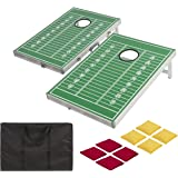 Best Choice Products Football CornHole Bean Bag Toss Game Set Portable Alum Frame W/ Carrying Case