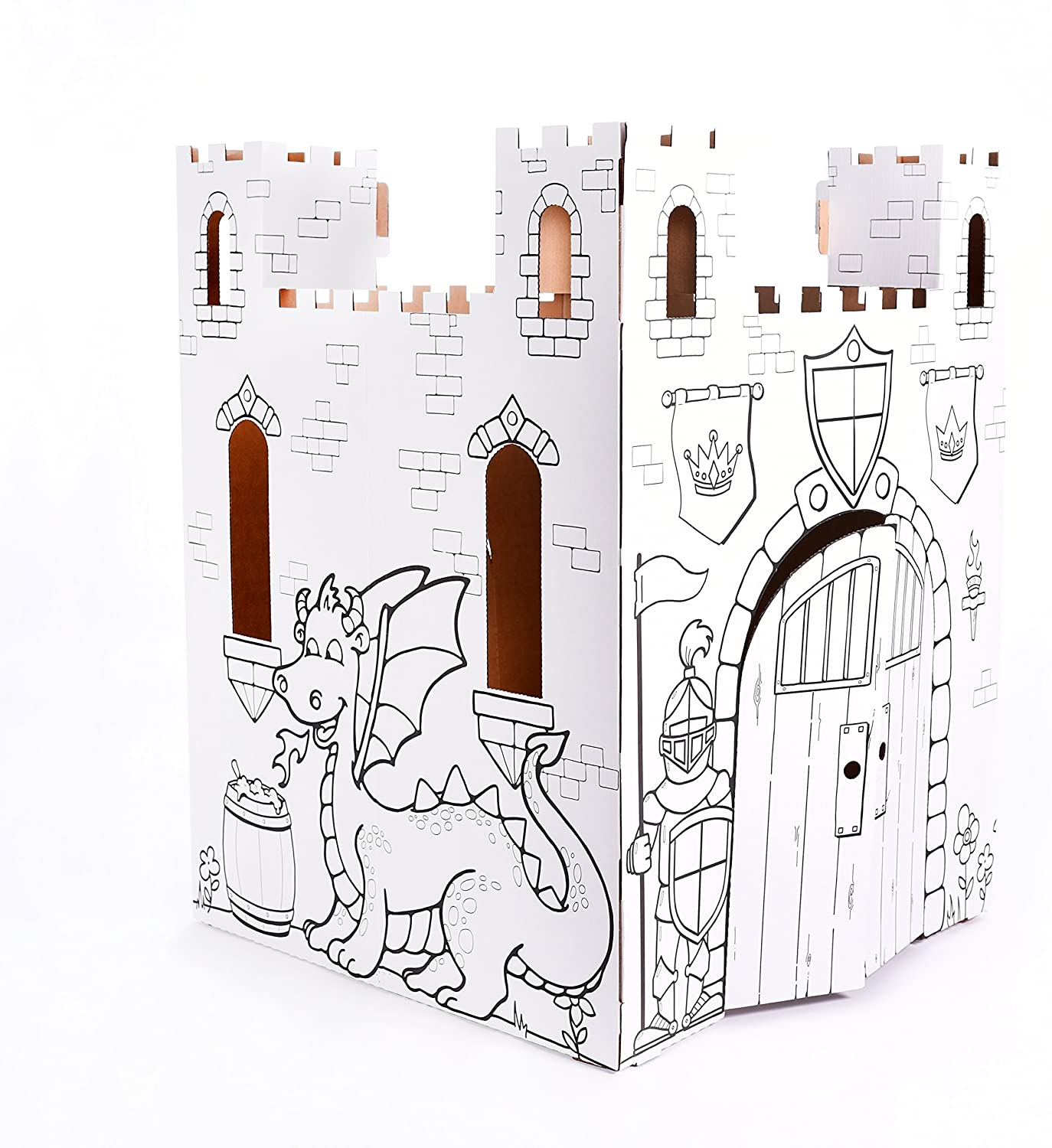 Amazon Com Easy Playhouse Fairy Tale Castle Kids Art Craft For Indoor Outdoor Fun Color Draw Doodle Decorate Personalize A Cardboard Fort 32 X 32 X 43 5