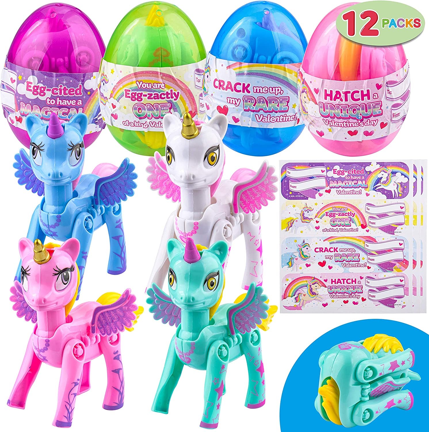 Valentine/'s Greeting Cards JOYIN 12 Pack Valentines Day Card with Transforming Unicorn Toys in Egg for Valentine Party Favor Classroom Exchange Prize Transforming Unicorns Hatching Unicorn Eggs
