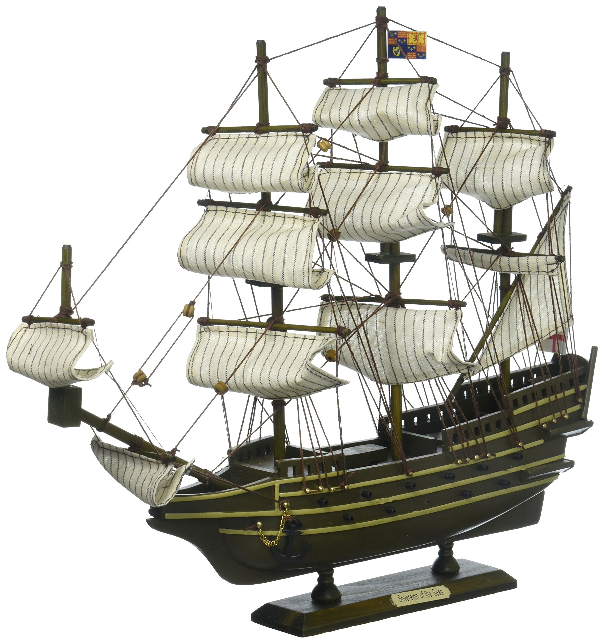 Hampton Nautical Wooden Sovereign of The Seas Tall Model Ship, 14''