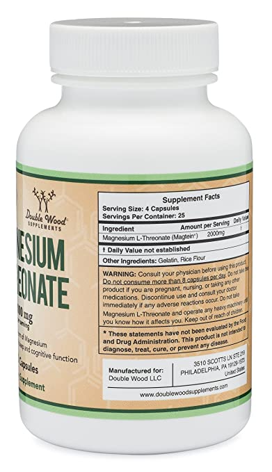 Amazon.com: Magnesium L Threonate Capsules (Magtein) – High Absorption  Supplement – Most Bioavailable Form – 2,000 mg – 100 Capsules: Health &  Personal Care