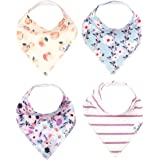 """Baby Bandana Drool Bibs for Drooling and Teething 4 Pack Gift Set For Girls """"Morgan Set"""" by Copper Pearl"""