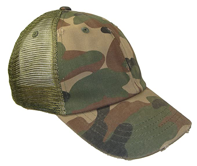 Distressed Weathered Vintage Mesh Trucker Cap (One Size e310b0f94d2