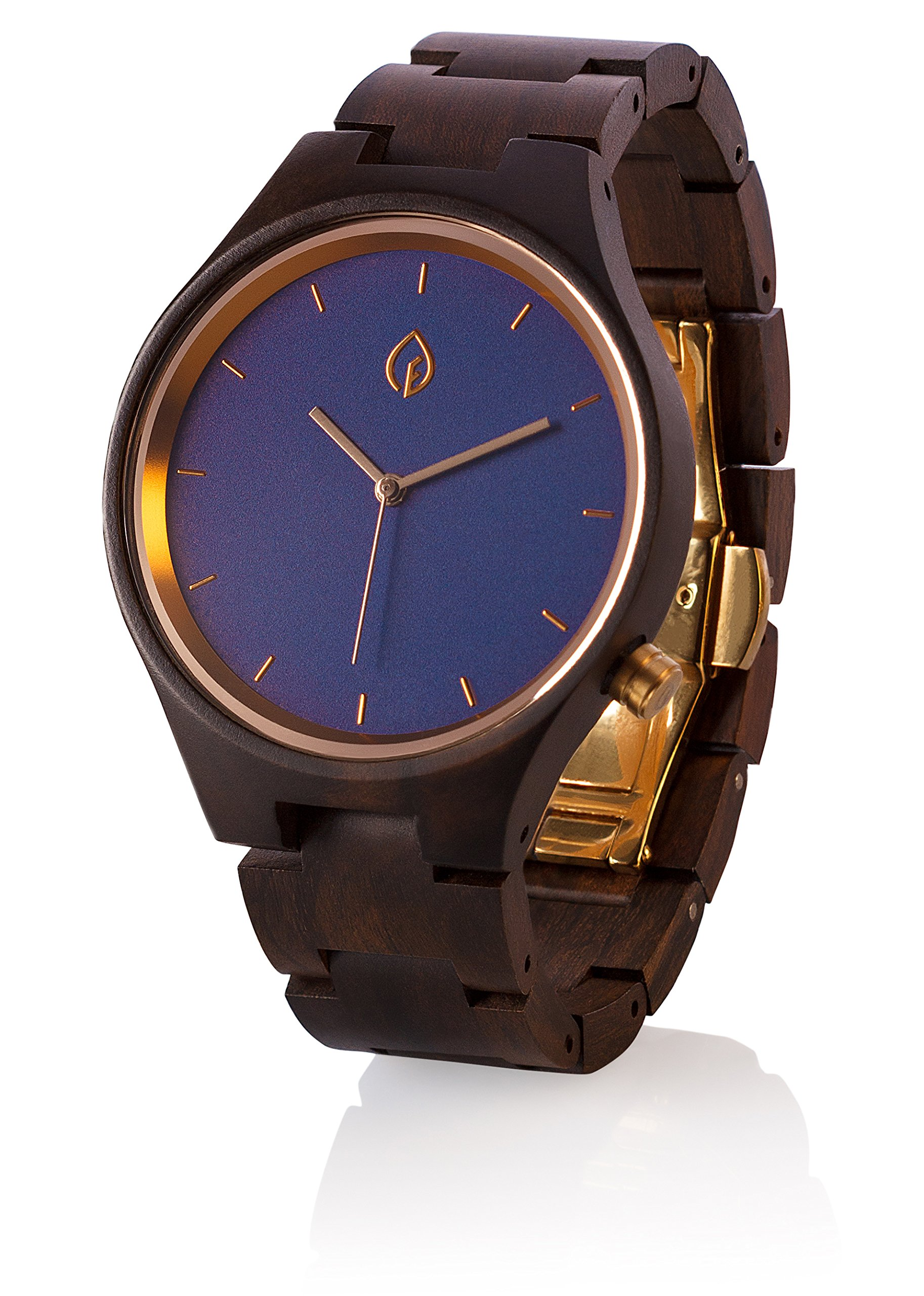 TheHrdwood Wooden Watch Wood Watch Groomsmen Gift, Boyfriend Gift, Father Gift Anniversary Gift for Men (Blue)
