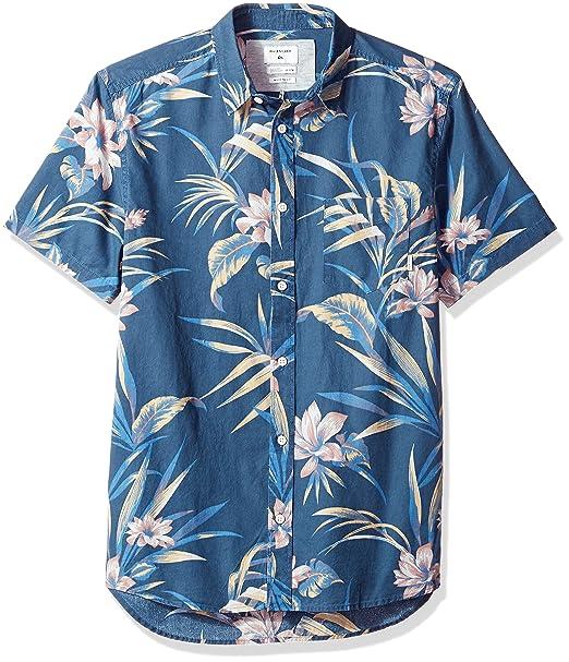 0bcfae20cd98f Quiksilver Hombres Longa Locka SS Button Down Shirt Manga Corta Camisa de  Botones - Azul -  Amazon.es  Ropa y accesorios