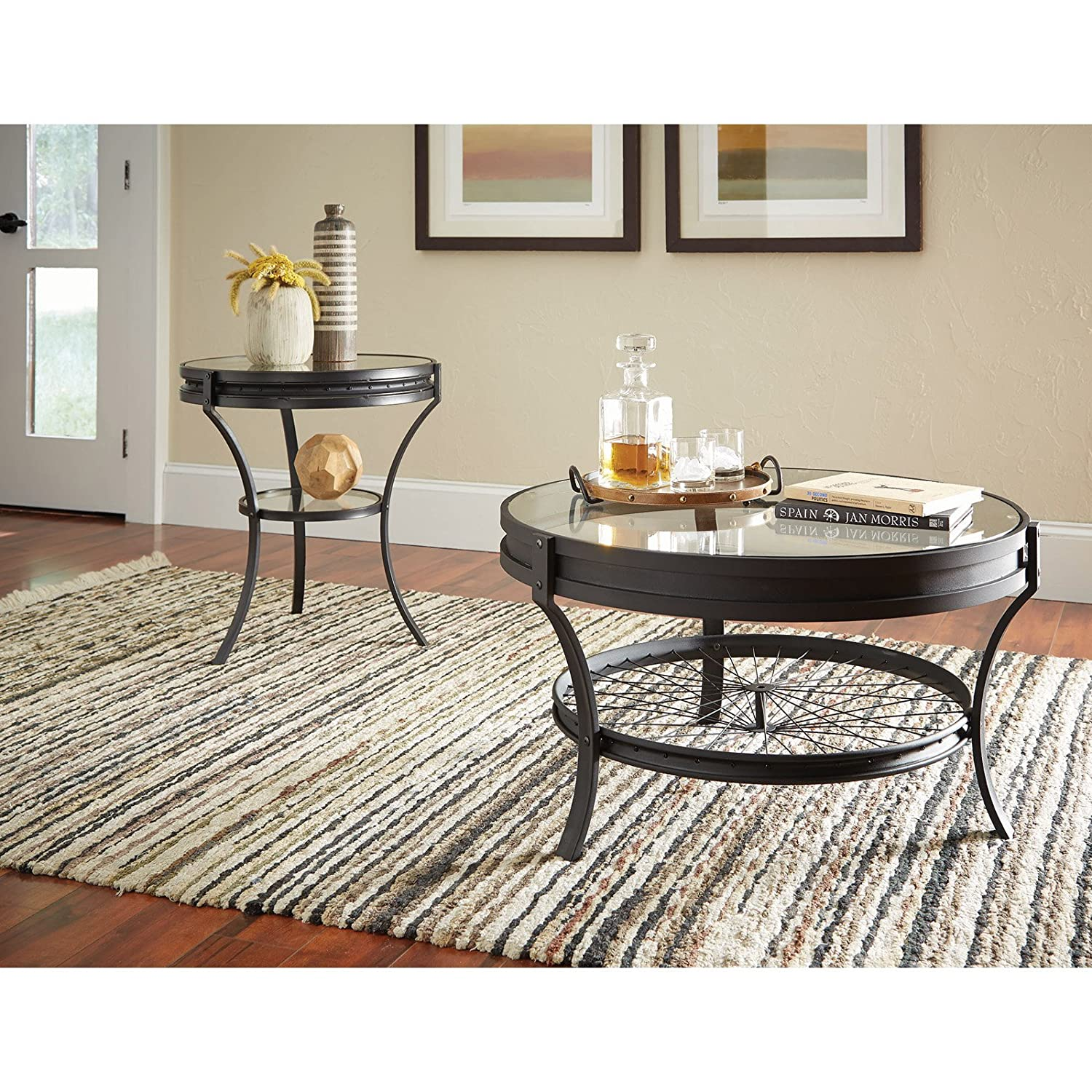 Amazon Coaster Round Glass Top Coffee Table in Sandy Black