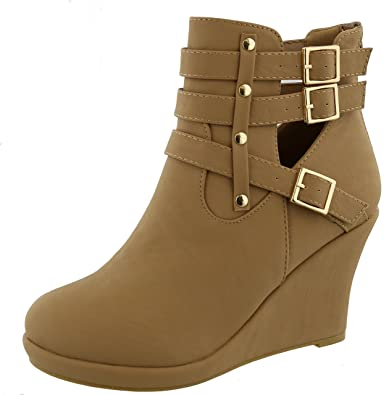 Women's Strappy Buckle Platform Wedge Heel Ankle Bootie