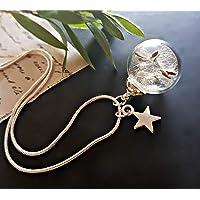 Collana dente di leone ciondolo stella in argento sterling 925 - tarassaco soffióne personalizzato pendente argento finissimo con PACCO REGALO regalo di compleanno