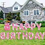 CAMFUN Happy Birthday Yard Signs with Stakes,14 Pieces Gradient Color Weatherproof Lawn Corrugated Plastic Letters Signs Outd