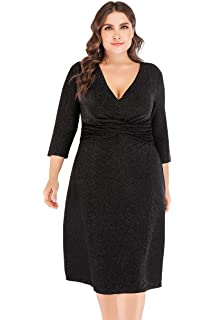 438a6506fb ESPRLIA Women's Plus Size Sexy V Neck Front Twist Sequin Glitter Midi  Stretchy Party Club Cocktail