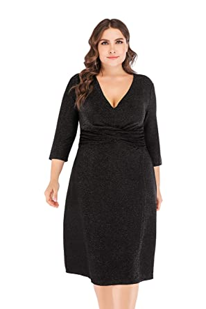 38f10eb3407 ESPRLIA Women s Plus Size High Waist Sexy Faux Wrap Pencil Cocktail Midi  Dresses (Black