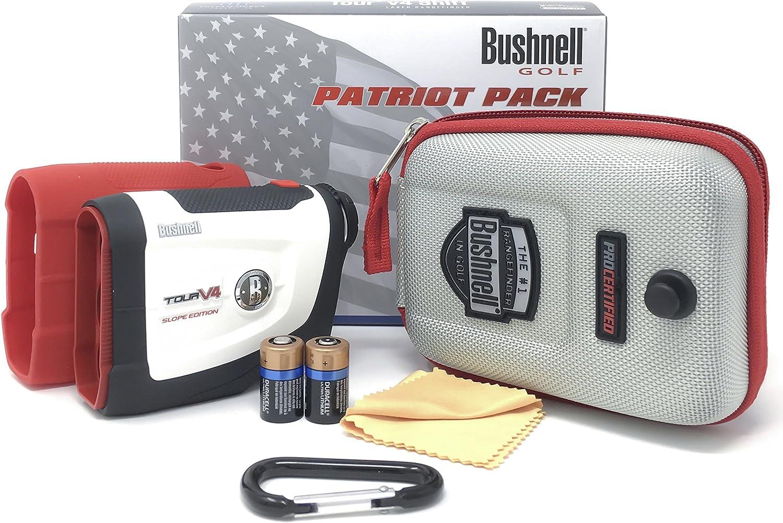 Bushnell Tour V4 Shift Laser Golf Rangefinder Bundle with Carrying Case, Carabiner, Lens Cloth, and Two 2 CR2 Batteries