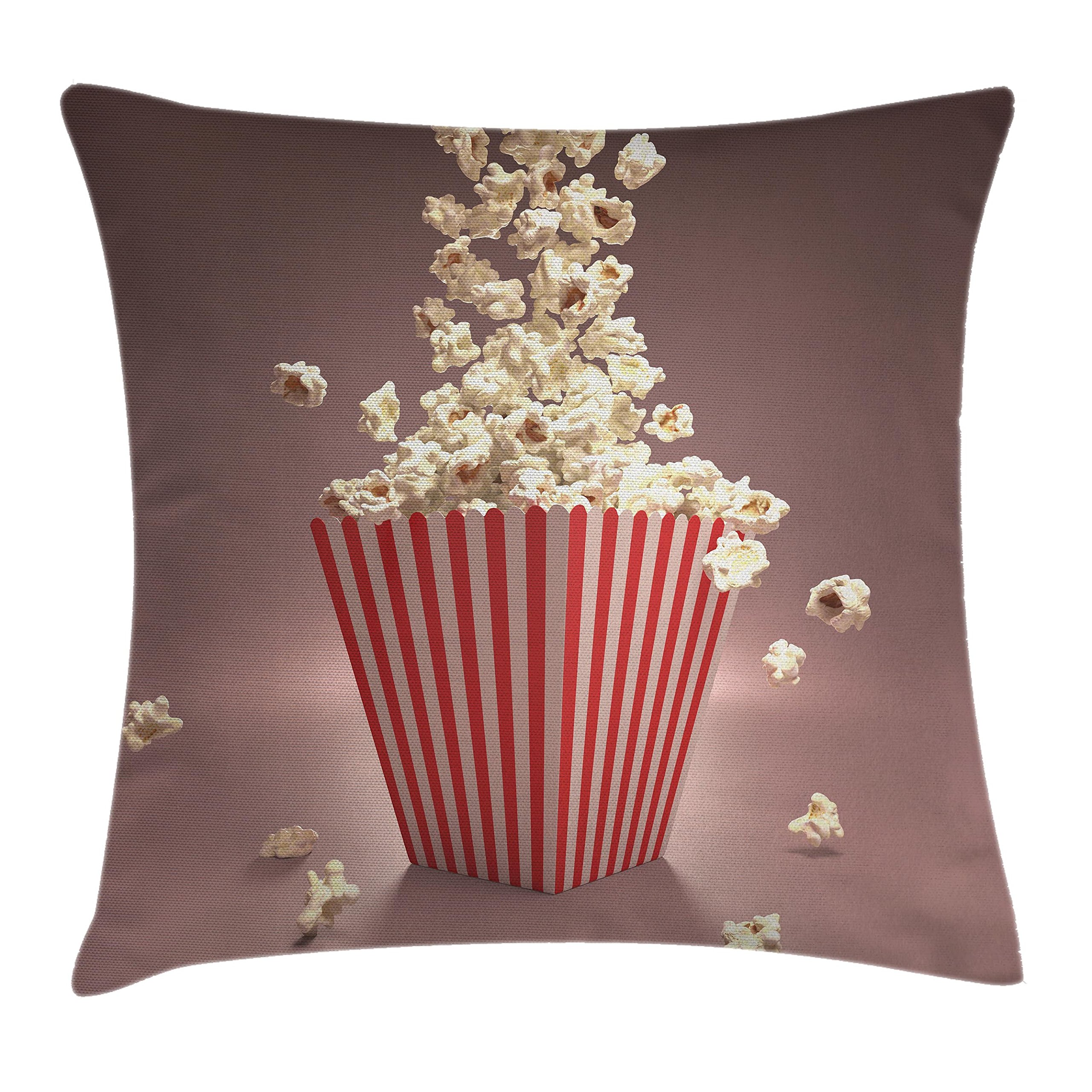 Ambesonne Retro Throw Pillow Cushion Cover, Retro Style Popcorn Art Image Cinema Movie Theater Theme in Classical Display, Decorative Square Accent Pillow Case, 20 X 20 Inches, Light Red White