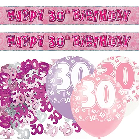 Unique bpwfa-4177 Glitz 30th cumpleaños Foil Banner Kit de ...