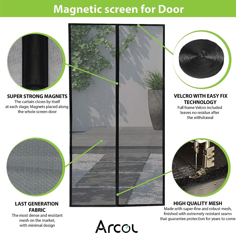 Fermeture Automatique Totalement Magn/étique Moustiquaire Magn/étique Pour Portes Premium de Arcol de Design Minimale Toile en Fibre Imp/én/étrable Super Fine 92 x 212 cm, Noir