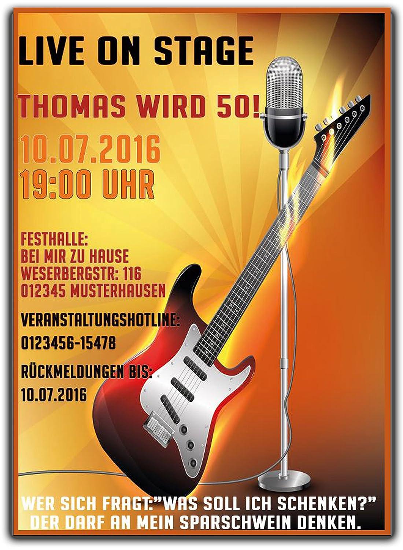 Rock N Roll Gittare Einladungskarte Einladung Geburtstag Party Feier