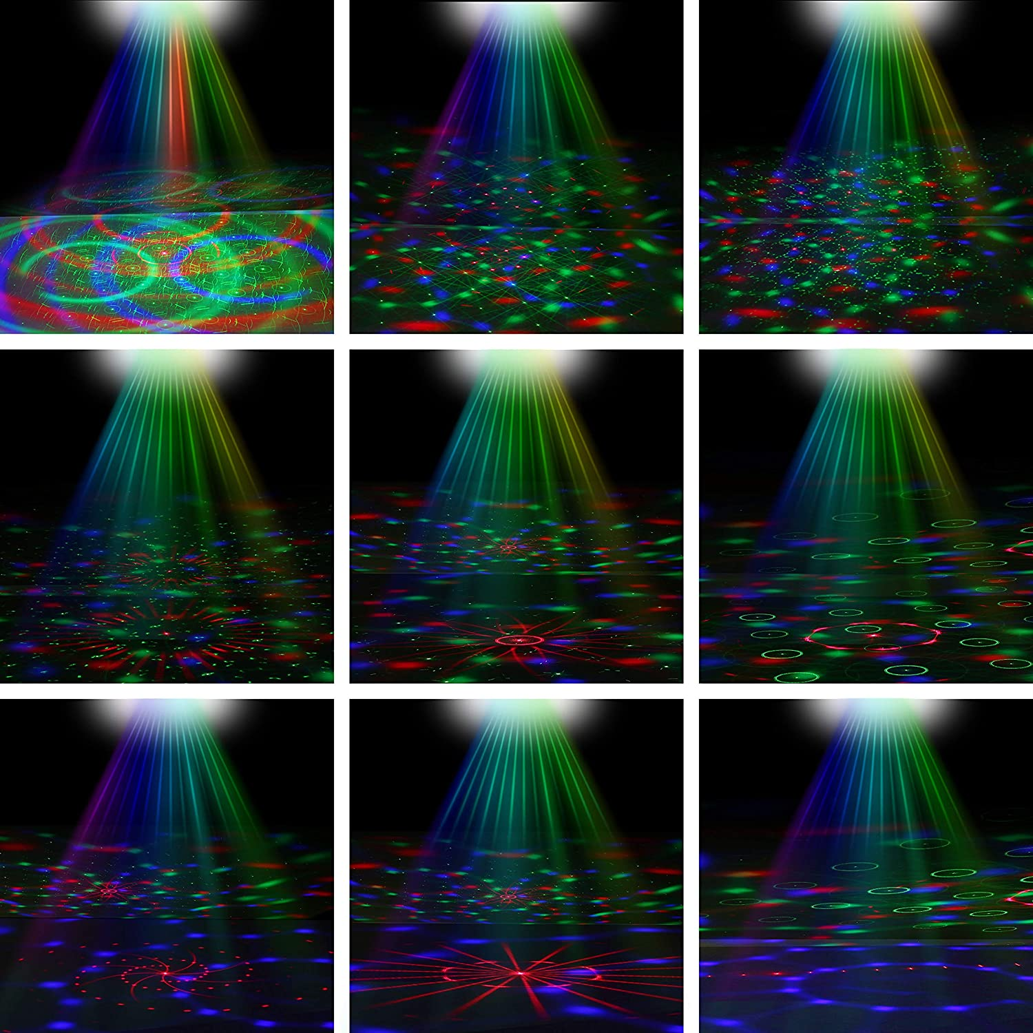 LED Stage Lights RGB Mixed Effects Laser Magic Ball Sound Activated Remote Control 36 Patterns Projector Stage Lighting with Built-in Audio USB Bluetooth for Wedding Birthdays Christmas Party White