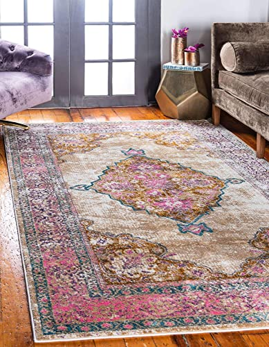 Reviewed: Unique Loom Aurora Collection Over-Dyed Floral Traditional Vintage Beige Area Rug 10' 0 x 13' 0