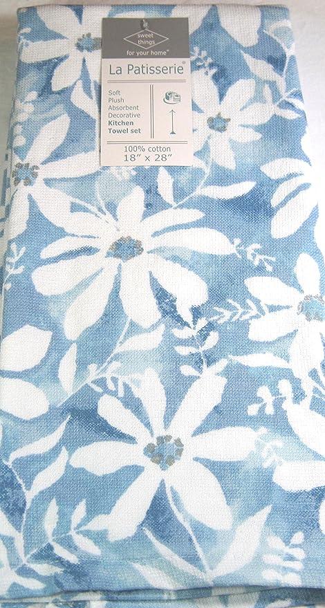 La Patisserie Plush Kitchen Towels 2 Pk Floral/Blue 18\