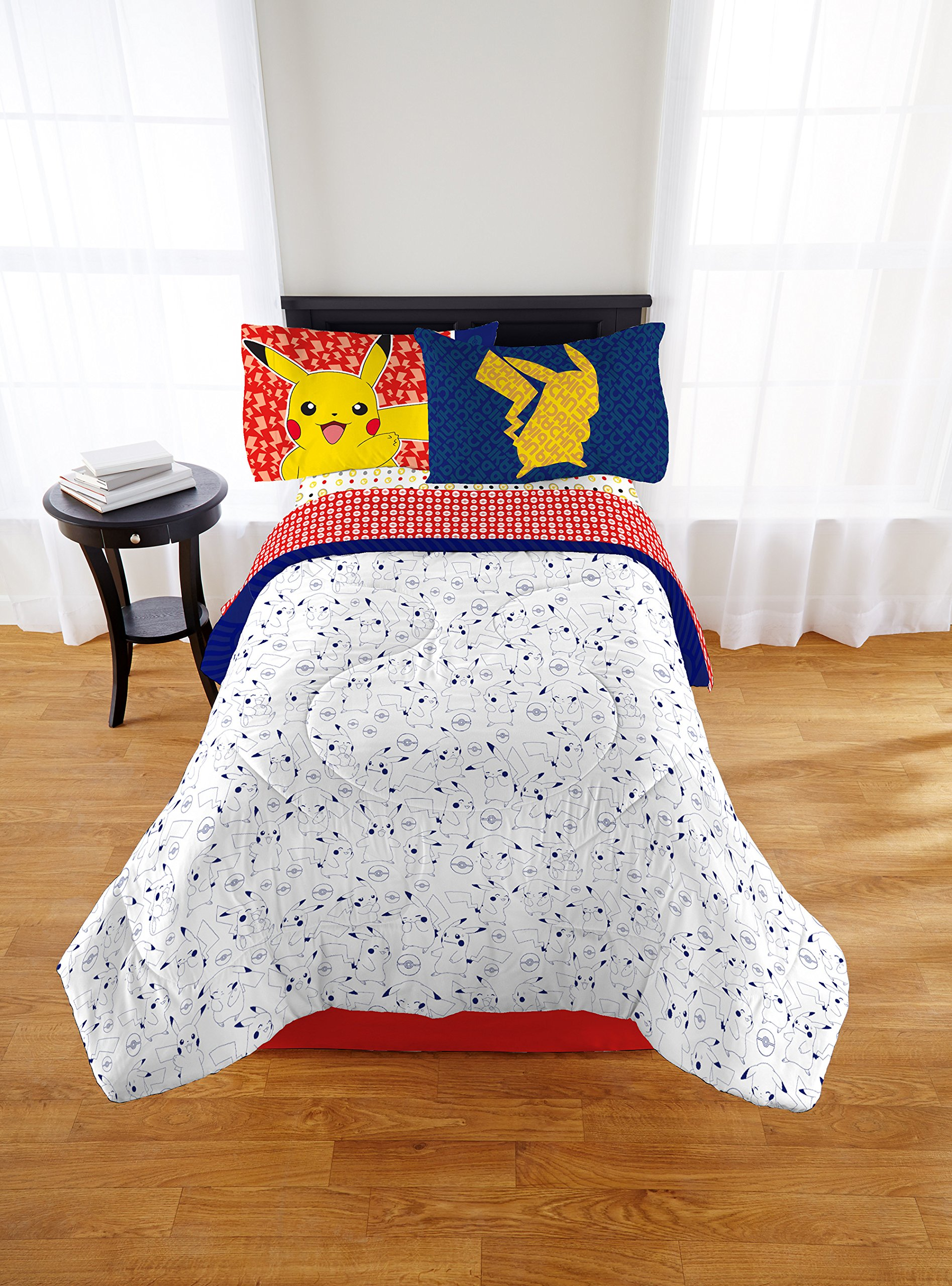 TN 3 Piece Kids Red Pokemon Sheet Set Twin, Blue All Over Pokeball Bedding Geometric Video Games Bed Sheets Animated Movies Comics Soft Cozy Yellow Gold Modern Stylish Elegant, Polyester