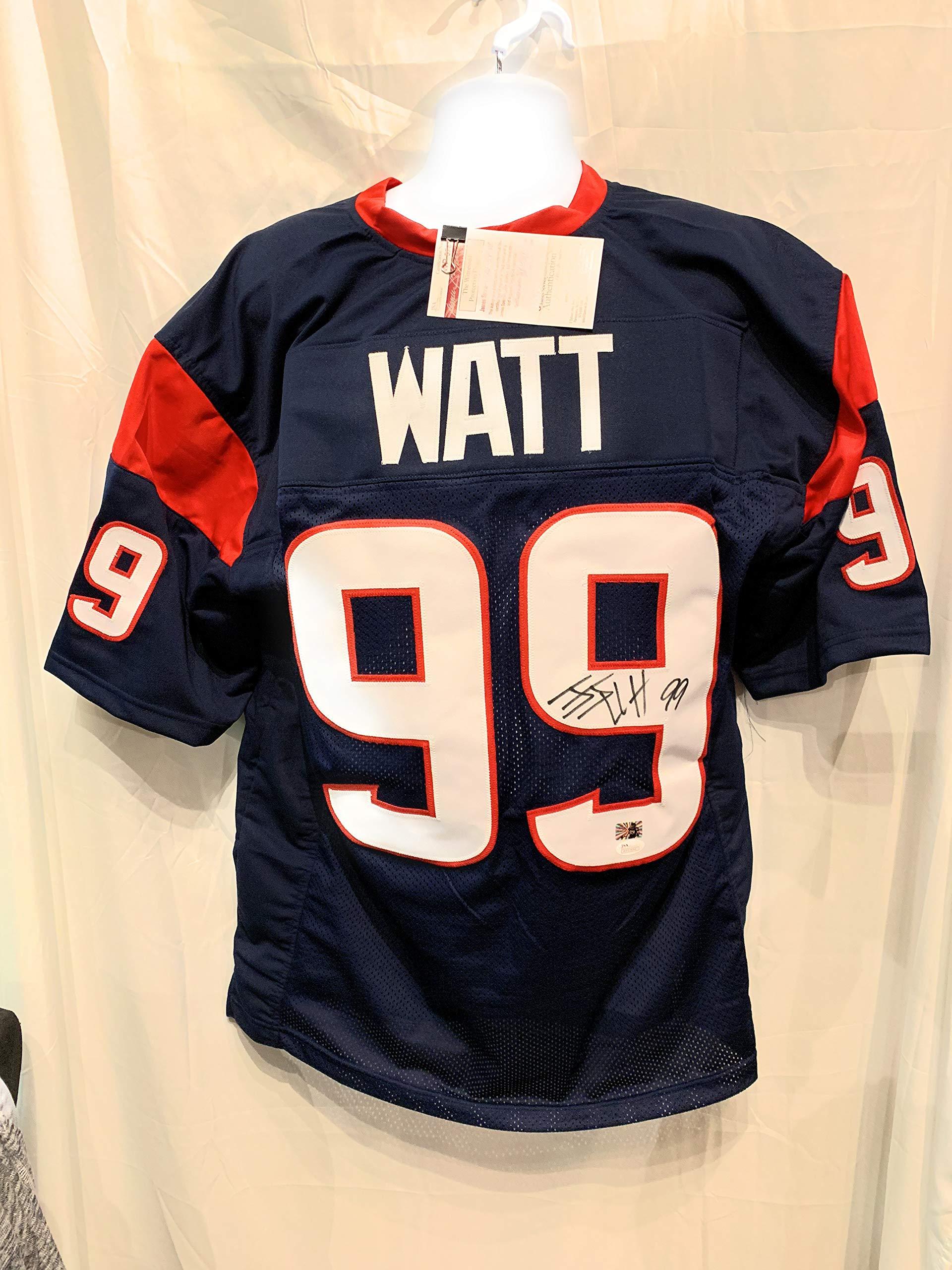 JJ Watt Houston Texans Signed Autograph Blue Custom Jersey WATT Hologram JSA Witnessed Certified