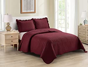 Better Home Style 3 Piece Luxury Ultrasonic Embossed Floral Design Solid Color Quilt Coverlet Bedspread Oversized Bed Cover Set # Mimi (Burgundy, Full/Queen)