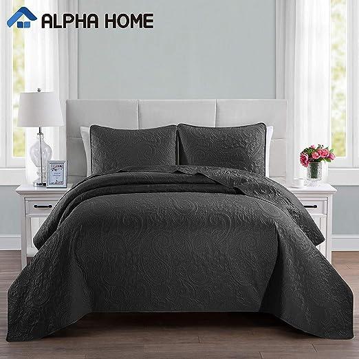 1 Quilt, 1 Sham ALPHA HOME 2-Piece Lightweight Comforter Bed Quilt Set Twin