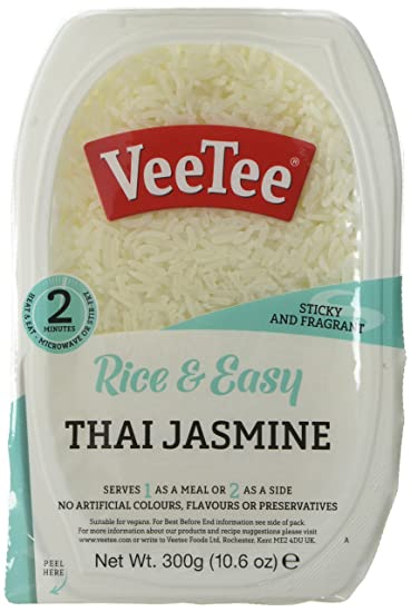 Vee Tee   Thai Jasmine Rice   Microwavable, Gluten Free, 300 G (Pack Of 6) by Veetee Dine In