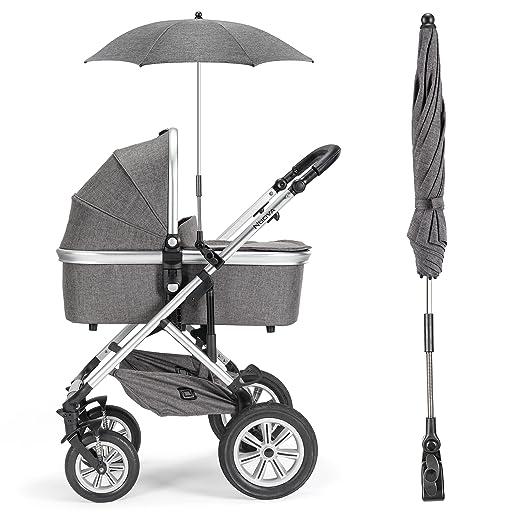 Zamboo - Sombrilla universal Carrito de bebé - Silla de paseo | Parasol flexible con soporte para tubos redondos y ovalados / Protección UV50+, 73 cm ...