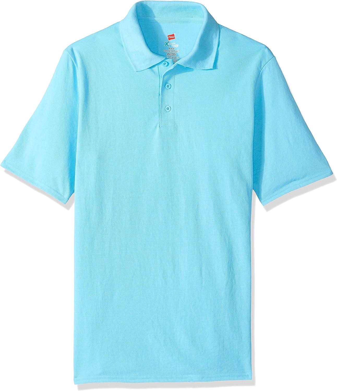 Hanes Men's Short Sleeve X-Temp W/ FreshIQ Polo, Blue Horizon, Large