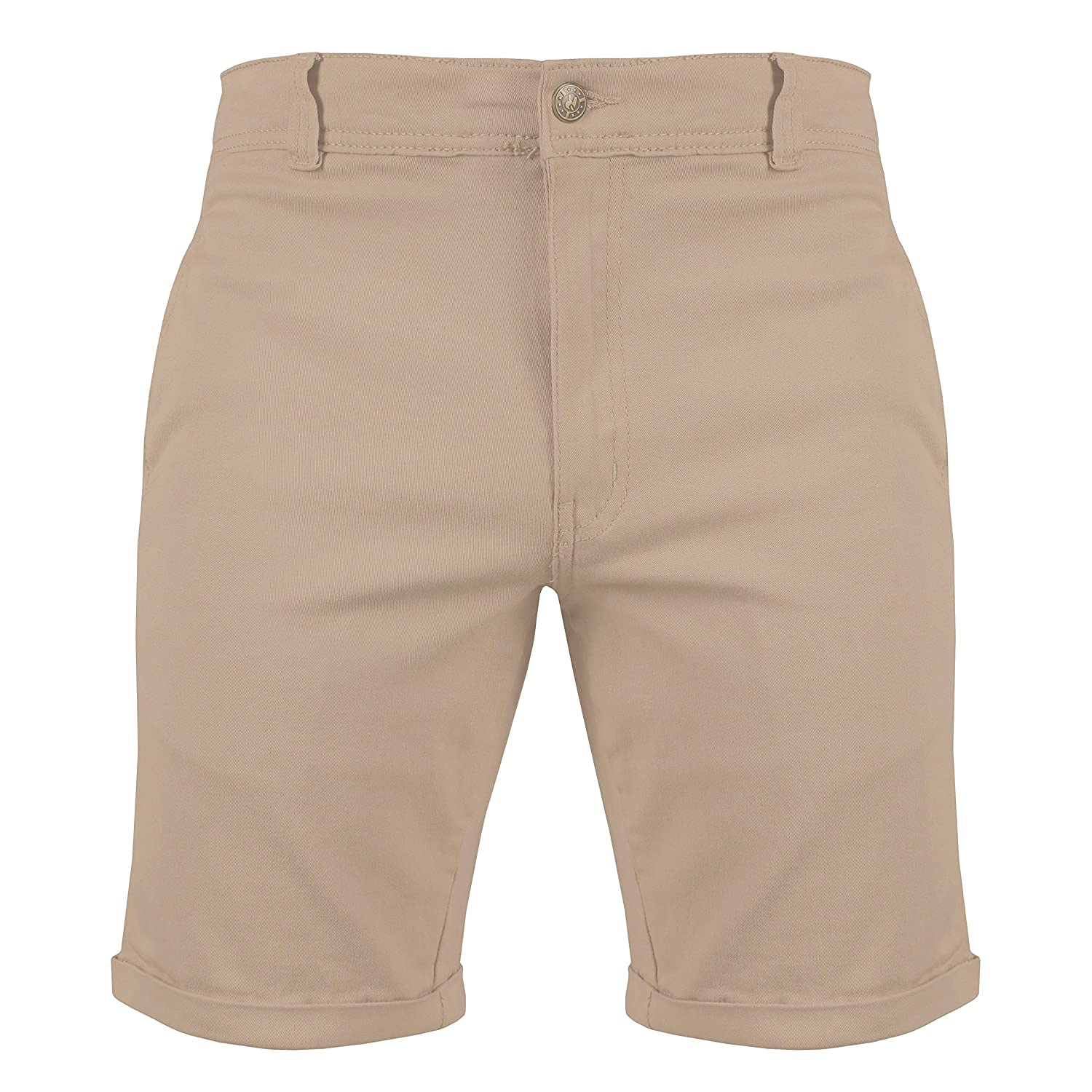 Urban Heritage Mens Slim Fit Stretch Cotton Chino Shorts Rolled Hem