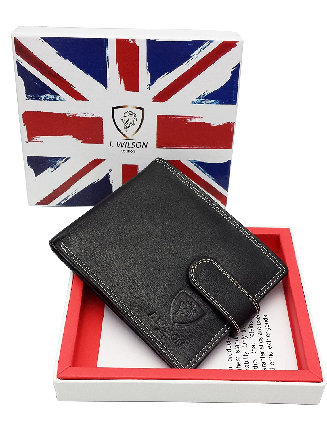 f39c1c732360 RFID BLOCKING Protection Nappa Genuine Leather J Wilson London Mens Wallet  With Zip Coin Pocket Gift Boxed