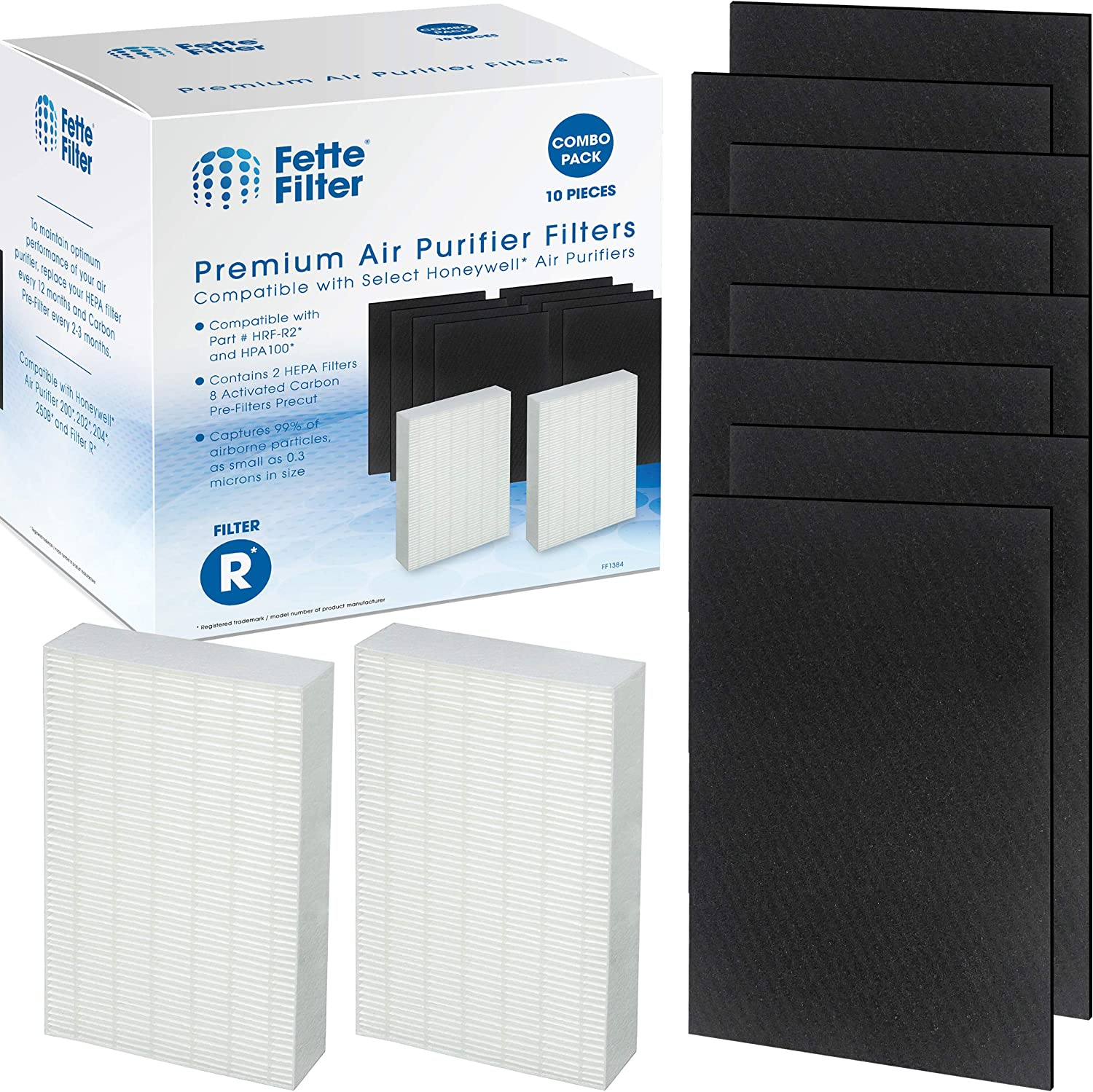 Fette Filter - 2 HEPA Replacement Filter Pack Including 8 Activated Carbon Pre Filters Precut for HPA100 Compatible with Honeywell Air Purifier 090, 094, 100, 104, 105, HA106 & Filter R