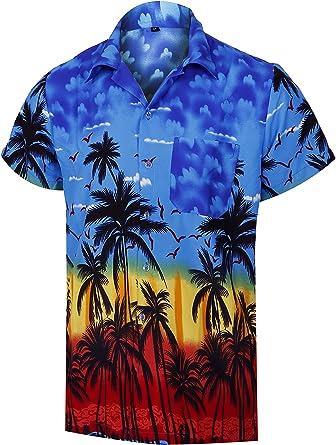 Virgin Crafts Camisa Hawaiana de Hombre Camisa de Playa de Aloha con Estampado de Palmeras: Amazon.es: Ropa y accesorios