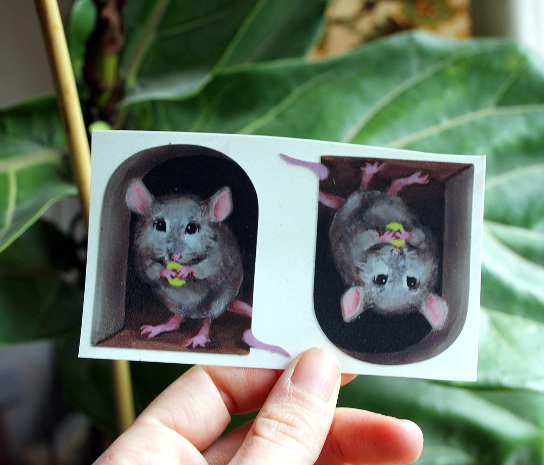 mini mural 2 x Miniature Mice//Mouse Hole Decal