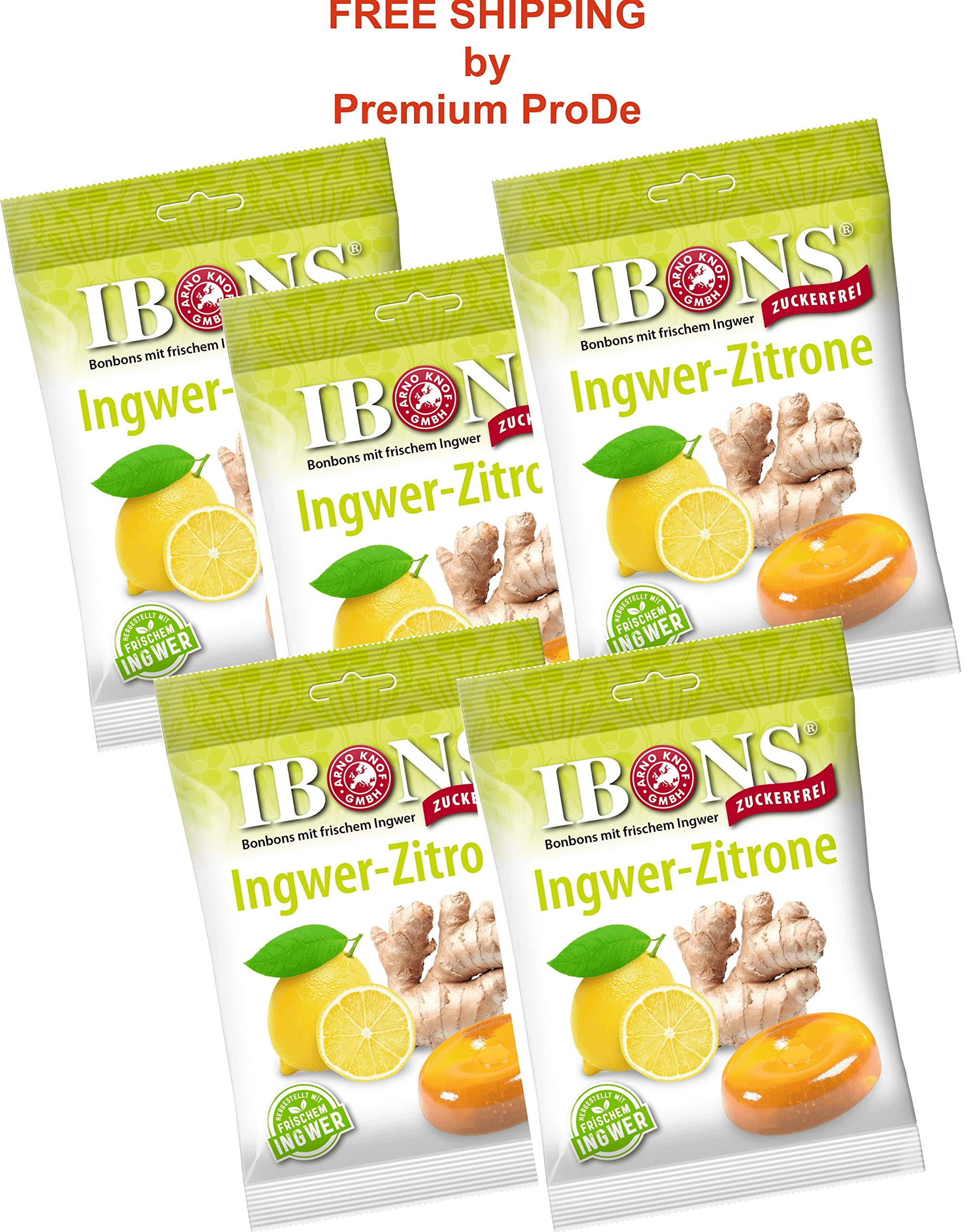 5x75g Sugar-free Ginger-Lemon Candies, IBONS / Germany by IBONS