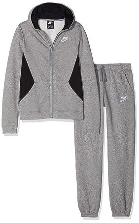 64e4a980b9316 Nike NSW TRK BF B Core Survêtement Enfants XS Anthracite chiné Noir Blanc