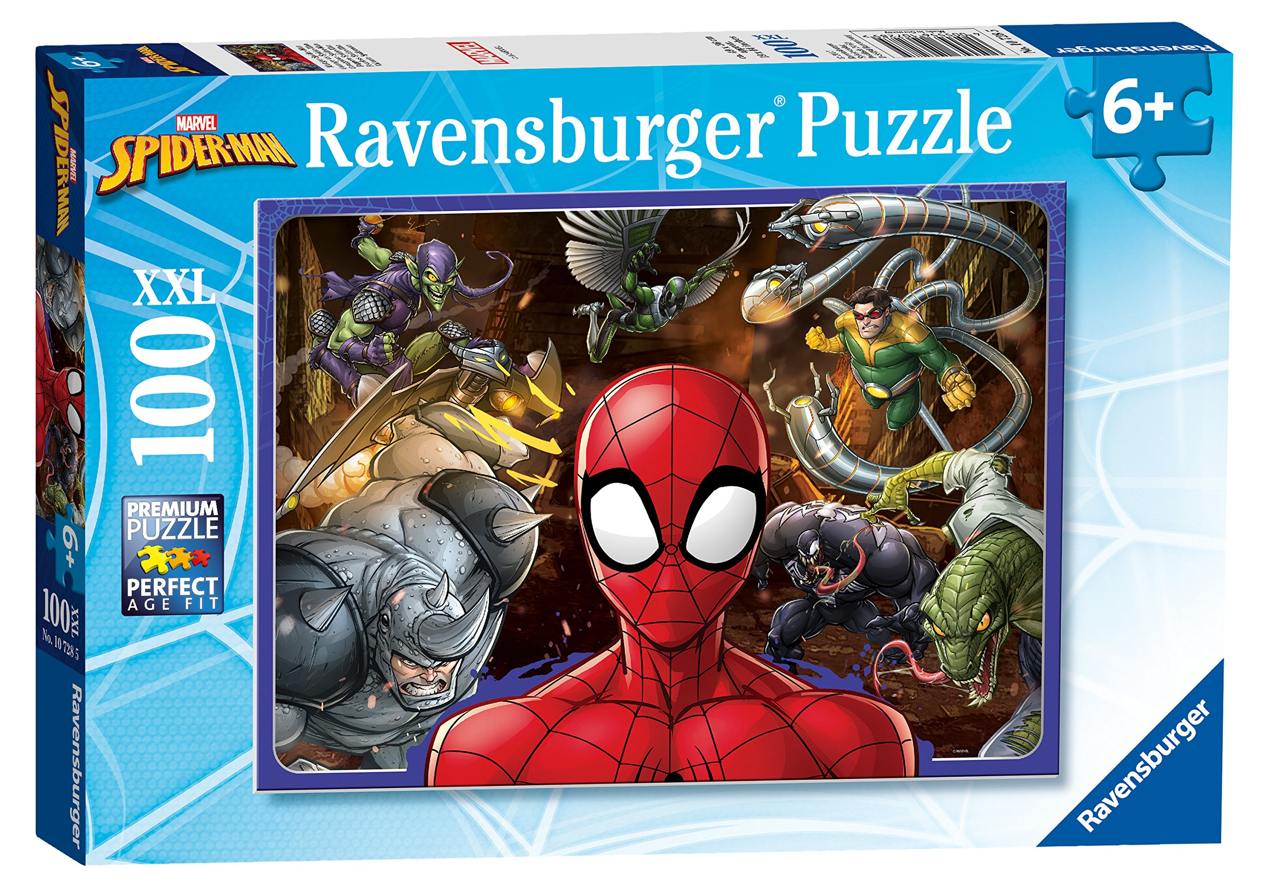 Ravensburger UK 10728 Spider-Man Spiderman Marvel Spiderman-100 Jigsaw Puzzle with Extra Pieces for Kids Age 6 Years and up, 2X-Large