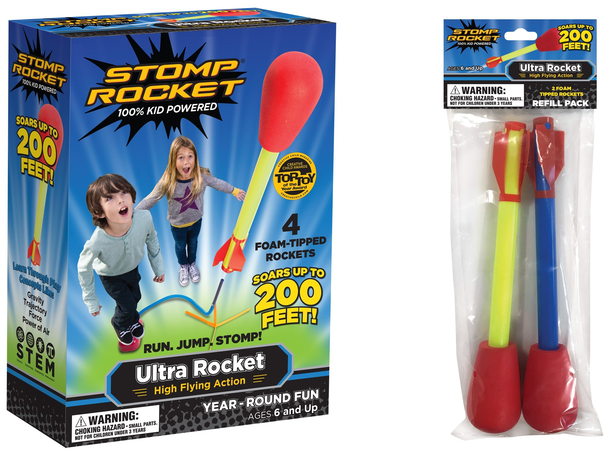 Stomp Rocket Ultra Rocket with Ultra Rockt Refill Pack, 6 Rockets [Packaging May Vary]