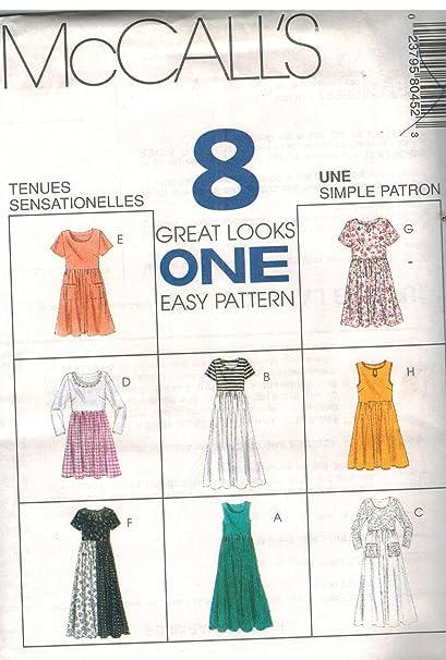 828d8bf4fc Amazon.com  8045 McCalls Sewing Pattern UNCUT Misses Empire Waist Dress Size  14 16 18