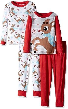 106f1ce98 Amazon.com  Rudolph Boys  Toddler 4-Piece Cotton Pajama Set  Clothing