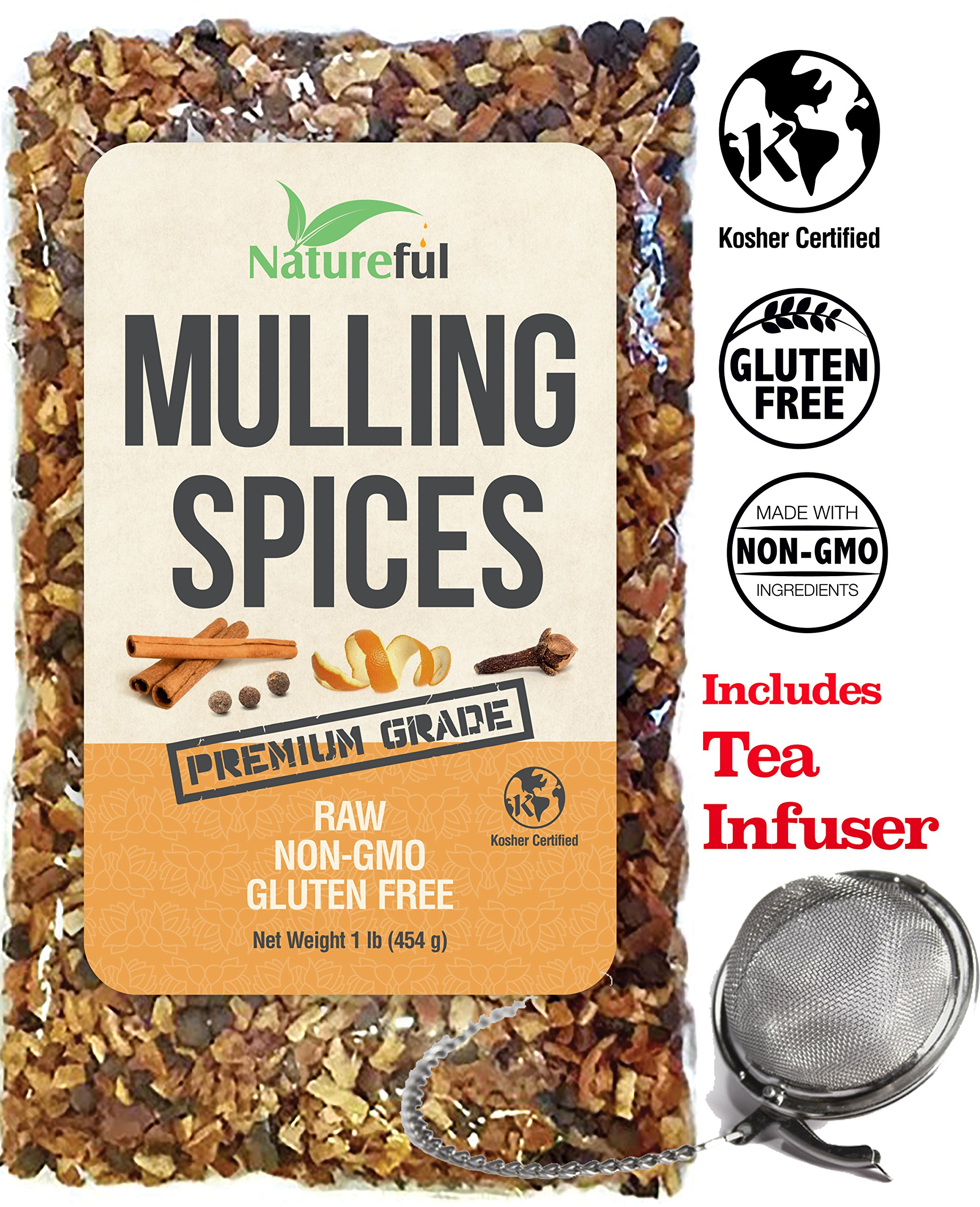 Mulling Spices for Mulled Wine Apple Cider Teas Kit: Holiday Special with Free 2'' Tea Strainer - Infuser! Original 1 Pound Bulk Bag - Mix of Orange Peel, All Spice, Cloves, Cinnamon Sticks Blend.