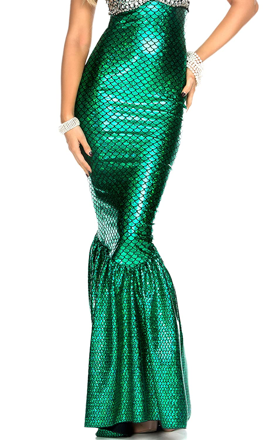 Women's High-Waisted Hologram Finish Green Mermaid Skirt - DeluxeAdultCostumes.com